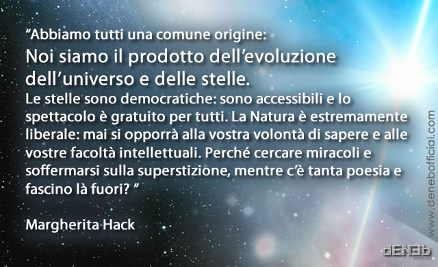 Margherita Hack: Noi siamo il prodotto dell'evoluzione dell'Universo e delle Stelle - We are the product of the Universe evolution and of the Stars