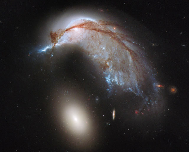 NGC 2936: Due galassie e un pinguino - The Porpoise Galaxy from Hubble