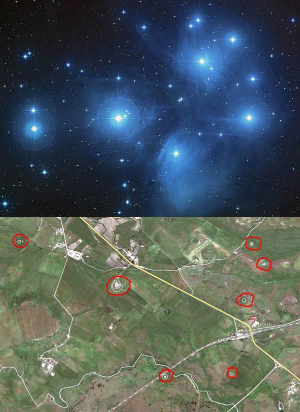 Sardegna - Nuraghi: una riproduzione delle 7 stelle principali dell' ammasso delle Pleiadi?