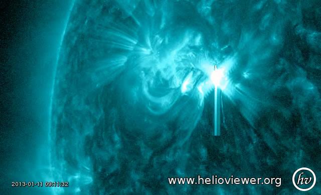 Nuovo brillamento solare di classe M1.2 - M1.2 flare peaked at 11 Jan 0911 UT