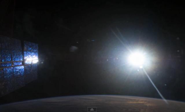 """Il Sole che """"non"""" tramonta visto dalla ISS - International Space Station: a rare unsetting Sun"""