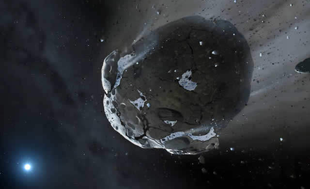 Frammenti Rocciosi Ricchi d'Acqua Raccontano di un Piccolo Pianeta Extrasolare e Vitale Scomparso - Evidence for Water in the Rocky Debris of a Disrupted Extrasolar Minor Planet