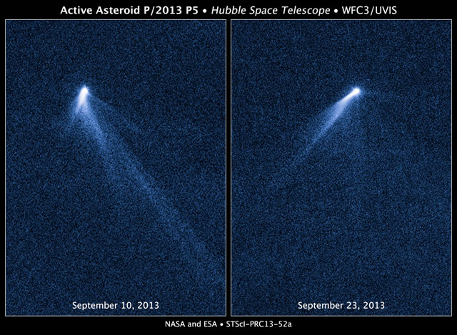 Hubble riprende uno strano asteroide che ha sei code come una cometa - Hubble sees asteroid spouting six comet-like tails