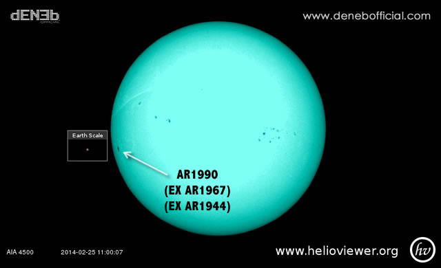 Attività Solare: La Regione Attiva AR1990 (ex AR1967 - ex AR1944) sta ruotando verso la Terra - Space Weather: Active Sunspot Turns Toward Earth