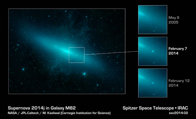 Il Telescopio Spitzer nel Cuore di Una Nuova Supernova in M82 - Spitzer Stares into the Heart of New Supernova in M82