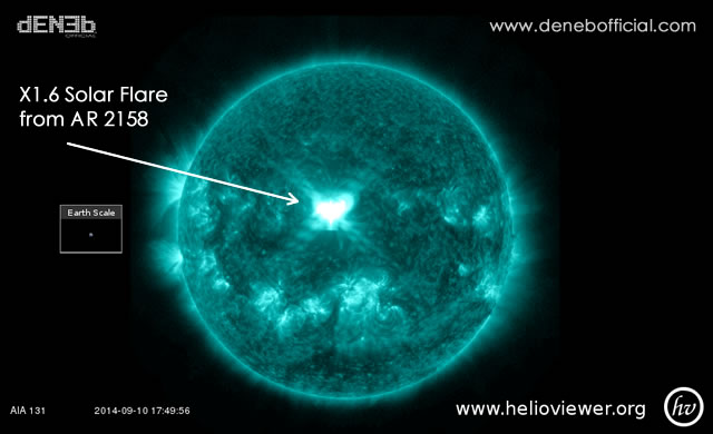 Attività Solare: Brillamento di Classe X - Space Weather: X1.6 solar flare from AR 2158