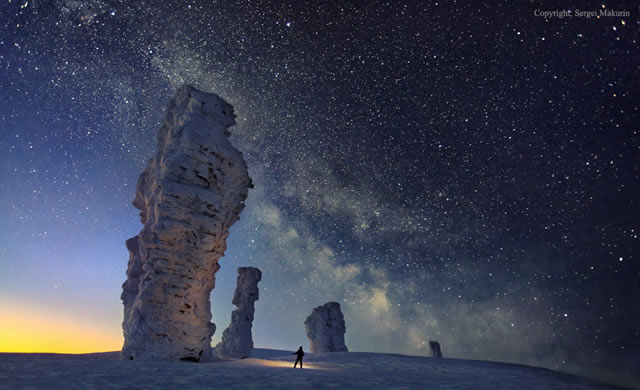 La Via Lattea e i Sette Giganti degli Urali - The Milky Way over the Seven Strong Men Rock Formations