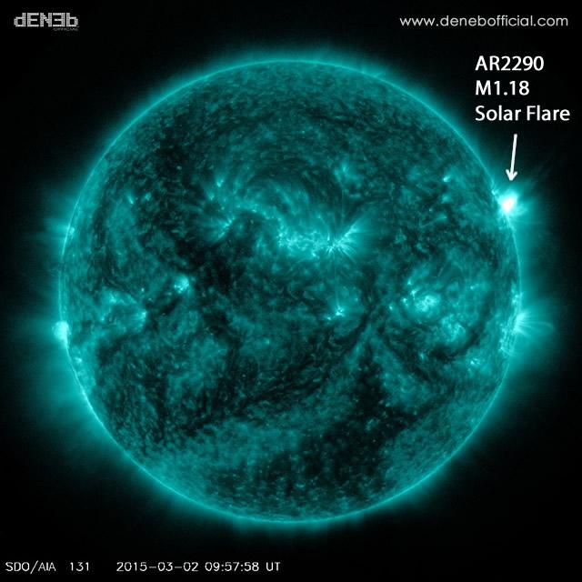 Attività Solare: Brillamento M1.18 - Space Weather: M1.18 Solar Flare