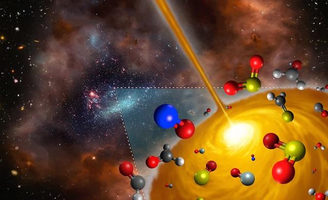 Rappresentazione artistica del nucleo molecolare caldo scoperto nella Grande Nube di Magellano