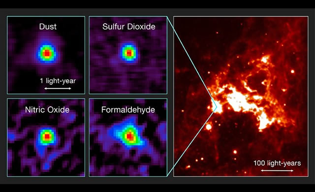 La figura mostra le osservazioni del primo nucleo molecolare caldo trovato al di fuori della Via Lattea sfruttando il potere di ALMA e una veduta della stessa regione di cielo in luce infrarossa.